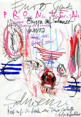STAHLHELMUT AUF BEUTEZUG, 2012, mixed media on paper, 29,7x21cm