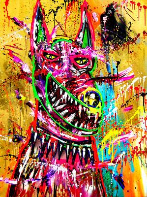 MEINE ART STIRBT MIT 27 ODER NIE, 2019, mixed media on canvas, 120x90cm (golden background)