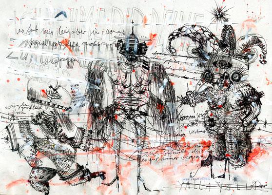 DIE DREI SCHWITZENDEN KÖNIGE, 2012, mixed media on paper, 21x29,7cm