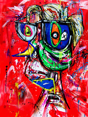 GLUBSCHI, 2018, mixed media on canvas, 120x90cm