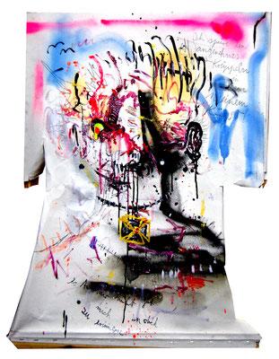 DU BIST EIN ABZIEHPILZ, 2014, mixed media on canvas, 90x70cm