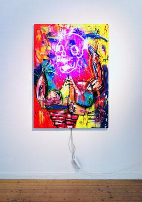 METHADONIS, 2019, mixed media and neon light on wood, 140x100x5cm
