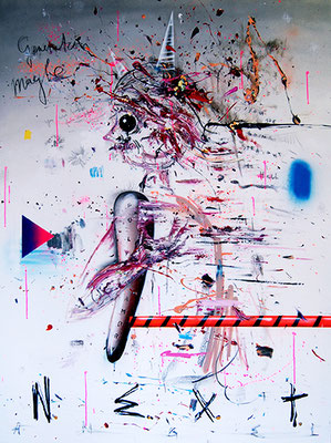 GHOSTING - DU MACHST GELD MIT RUM-MACHEN WIE JAMAIKA, 2015, mixed media on canvas, 200x150cm