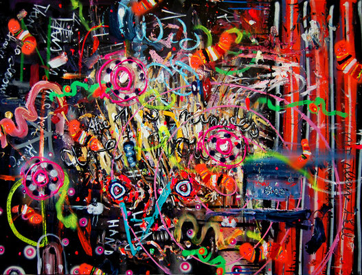 ME AND MY FUCKING GUN, 2011, mixed media on canvas, 90x120cm