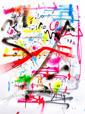 KABALE UND HIEBE 3, 2014, mixed media on canvas, 120x90cm