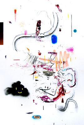 DAS SCHLIMMSTE HANDICAP BEIM GOLF IST KEINE ARME ZU HABEN, 2015, mixed media on canvas, 150x100cm