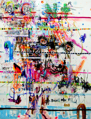 CONTACT HURTS, 2010, mixed media on canvas, 200x150cm
