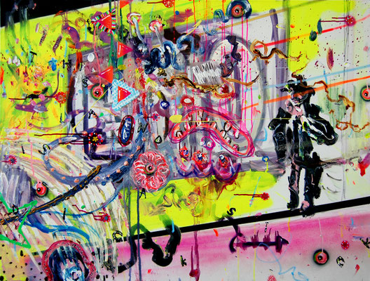 ECHOLOTSENSEKUNDAERGLIEDERLIEBE, 2011, mixed media on canvas, 90x120cm