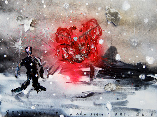 MIAMI VICE IM WINTER, 2011, mixed media on canvas, 30x40cm