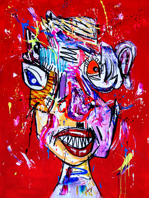RED SPARROW, 2018, mixed media on canvas, 120x90cm
