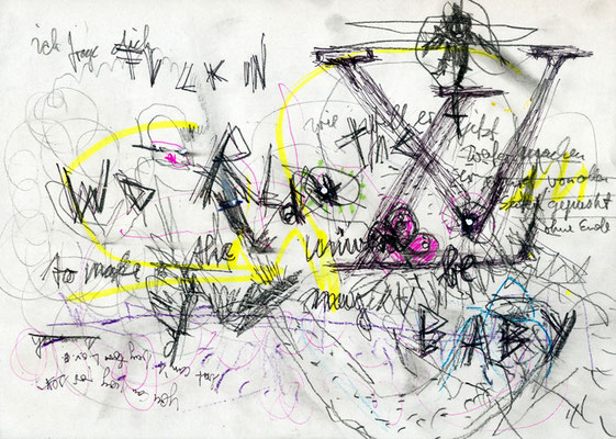 DICKFACE IS WAITING WITH KISSES, 2011, mixed media on paper, 21x29,7cm