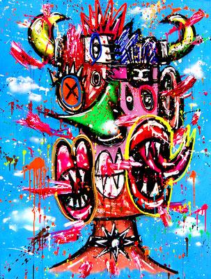 WOLF IM WOLSPELZ, 2021, mixed media on canvas, 120x90cm