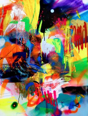 HORROR PIXELSHOW, 2016, mixed media on canvas, 60x50cm