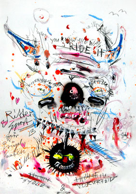 STANGENTANZ WM IM KISSLAND AKA LOOK INTO MY EYES, 2014, mixed media on paper, 42x29,7cm