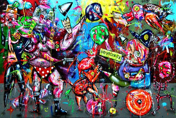 HEIMATSCHUTZMINISTERIUM, 2018, mixed media on canvas, 200x300cm