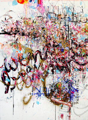 MOTHERFUCKERS GONNA TALK UNDER PRESSURE, 2010, mixed media on canvas, 140x100cm