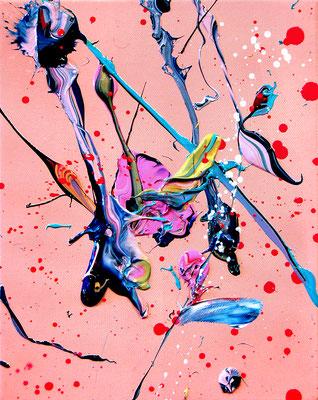 ENDLICH MAGENAUSPUMPEN, 2018, mixed media on canvas, 30x24cm
