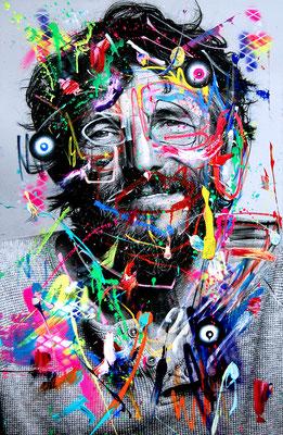 MARC JUNG X MARCO FISCHER //  Hans Söllner STEIGEN SIE BITTE AUS, 2017, mixed media on canvas, 115x75cm