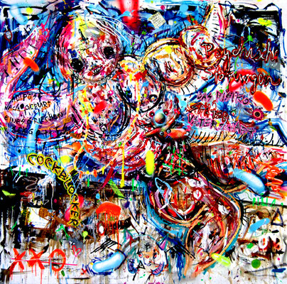 MIT DEN GEIZEN REIZEN, 2014, mixed media on canvas, 200x200cm