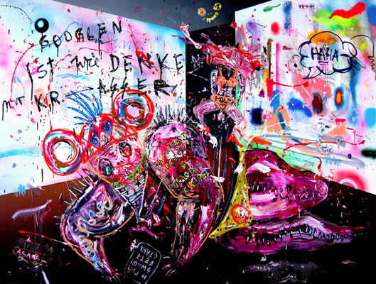HINTERWELT GETRIEBEN VON KINDERGELD 2014, mixed media on canvas, 150x200cm