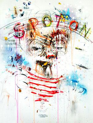 SCHÖN WENN MAN ZU DEN GÖTTERN GEHÖRT, 2012, mixed media on canvas, 120x90cm