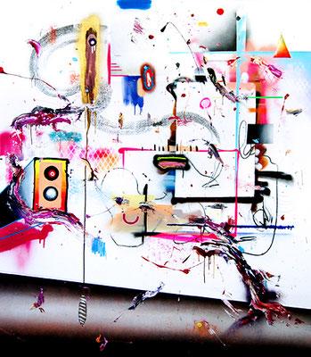 ICH FINDE MENSCHEN EINFACH NICHT SO GEIL EGAL WELCHER HAUTFARBE, 2015, mixed media on canvas, 190x165cm