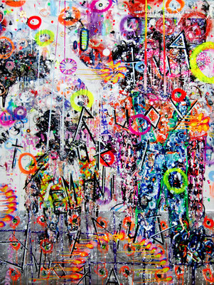 BAUSPARVERTRAGEN, 2011, mixed media on canvas, 195x145cm