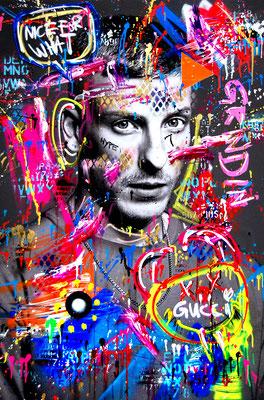 MARC JUNG X MARCO FISCHER // Felix Lobrecht NEUKÖLLN HUSTLER, 2020, mixed media on canvas, 120x80cm