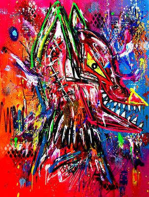 WER SAGT DASS GÖTTER NICHT BLUTEN, 2019, mixed media on canvas, 120x90cm