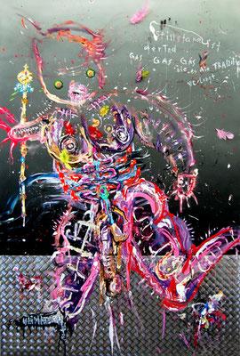 GÖTTERDÄMMERUNG DER DEUTSCHEN SEELE IM BÄUERLICHEN BRAUCHTUM, 2012, mixed media on canvas, 150x100cm