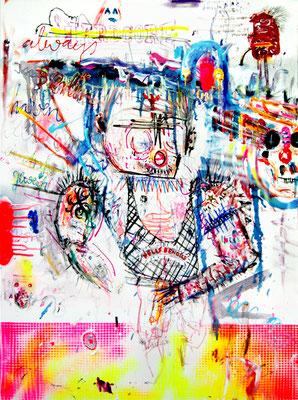 WICHSEN MACHT BLIND, 2012, mixed media on canvas, 80x60cm
