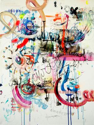 GELD MIT VERLUSTEN, 2011, mixed media on canvas, 80x60cm