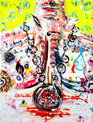 BIS EINER HEULT, 2011, mixed media on canvas, 40x30cm
