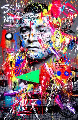 MARC JUNG X MARCO FISCHER // LX 187 STRASSENBANDE SCHNAPPOBST 2019, mixed media on canvas, 115x75cm