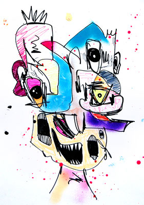 BOSS GENETIK, 2018, mixed media on paper, 42x29,7cm