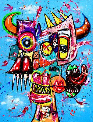 AUF KEHLE TRAINIERT, 2019, mixed media on canvas, 120x90cm
