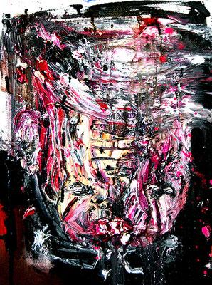 ICH KOMME NUR NOCH NACH HAUSE UM MIR DEN SPERMAGESCHMACK AUS DEM MUND ZU SPÜLEN, 2015, mixed media on canvas, 40x30cm