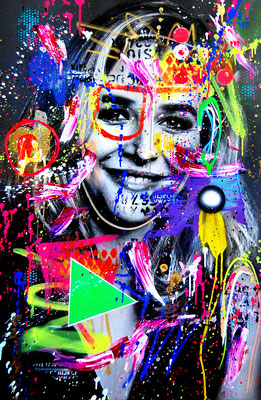 KATRIN BAUERNFEIND BLÖDEL CHICK, 2019, mixed media on canvas, 115x75cm
