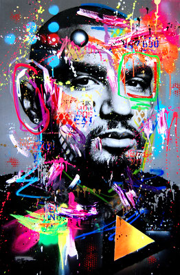 MARC JUNG X MARCO FISCHER // KEVIN PRINCE BOATENG BOLZPLATZ KING, 2019, mixed media on canvas, 115x75cm
