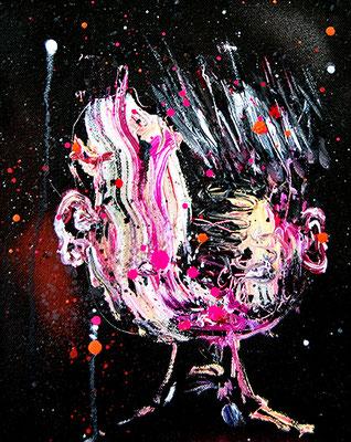 DU WARST EIN UNFALL BRUDI, 2015, mixed media on canvas, 30x24cm