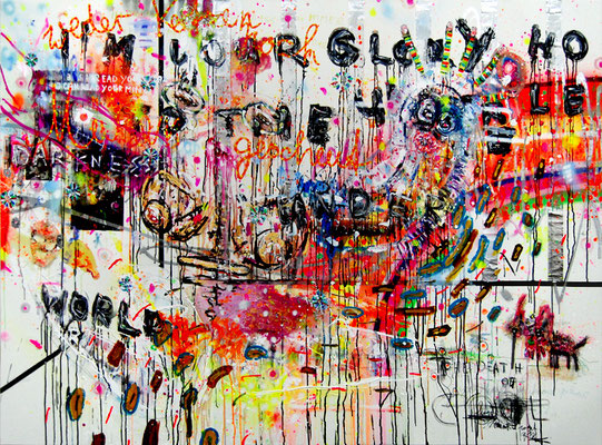 ICH MAG ES WENN ES BRENNT, 2010, mixed media on canvas, 150x200cm