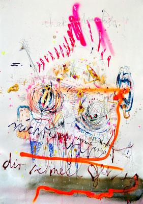 HEINRICH H VON ÖDIPUZZYS SCHÄDELDRAMA SPRICHT NICHT MIT JEDEM, 2012, mixed media on paper, 90x70cm