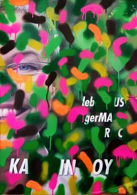 BERLIN ROCKT SCHON IMMER CAMOUFLAGE IHR ANTIANTIHIPSTERTROTTEL, 2012, mixed media on canvas, 84,5x60cm