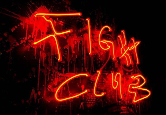 JAGDINSTINKT, 2020, mixed media and neon light on wood, 140x100x8cm (detail)