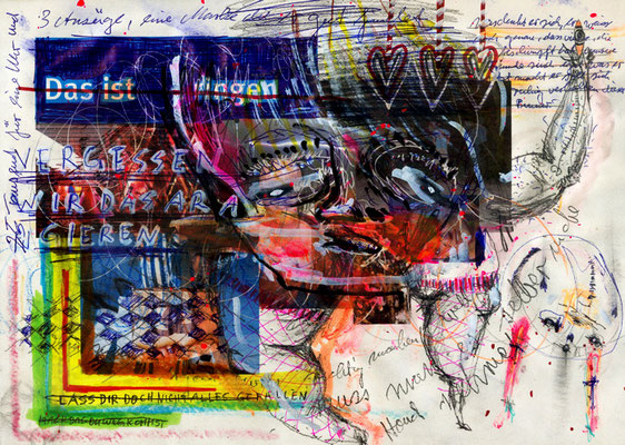 KARMA OF IGELGULASCHZIGEUNERSCHNAPSDESTODES , 2012, mixed media on paper, 21x29,7cm