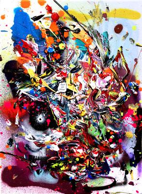 STILL HOOD FAMOUS, 2016, mixed media on canvas, 40x30cm