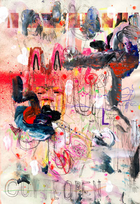 WUSSTEST DU DAVON, 2010, mixed media on paper, 29,7x21cm