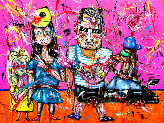 CLOCKWORK NEON, 2018, mixed media on canvas, 150x200cm