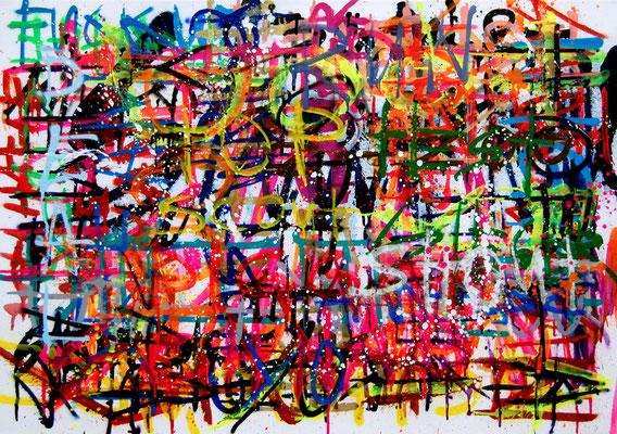 MMMMMMONEYPUSSYALCOHOL, 2016, mixed media on canvas, 50x60cm