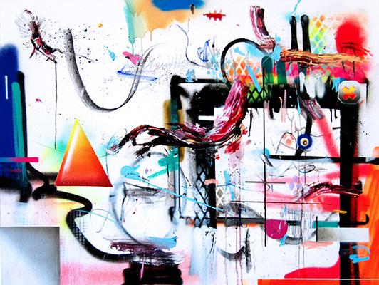 DIE GANZEN NACH EINEM TAG VÖLLIG INFILTRIERTEN ZUZUGSPACKOS, 2015, mixed media on canvas, 90x120cm